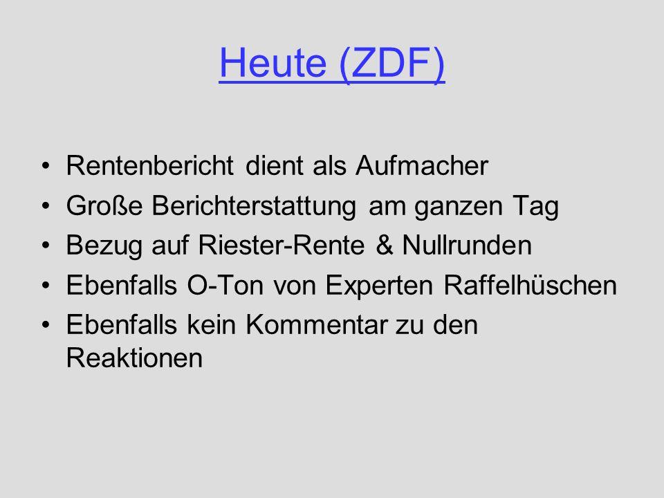Heute (ZDF) Rentenbericht dient als Aufmacher