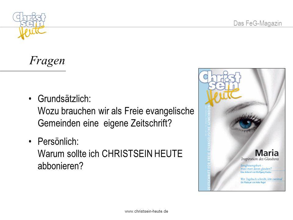 Das FeG-Magazin Fragen.