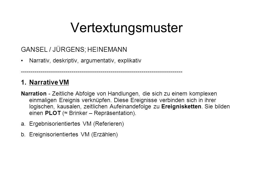 Vertextungsmuster GANSEL / JÜRGENS; HEINEMANN Narrative VM