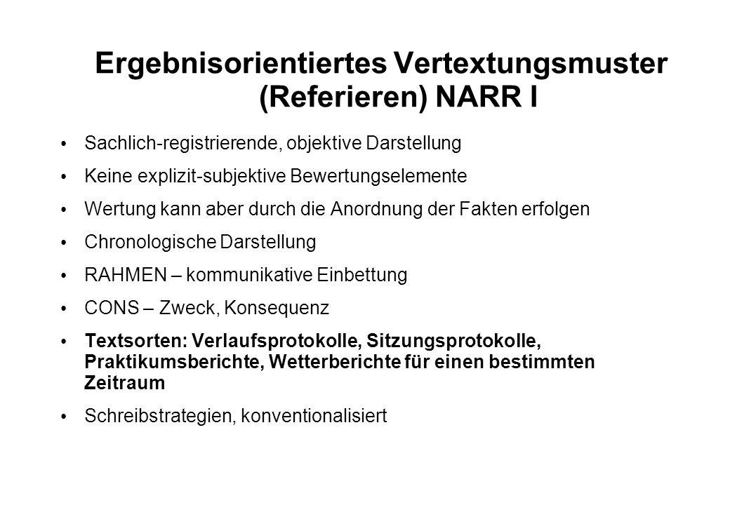 Ergebnisorientiertes Vertextungsmuster (Referieren) NARR I