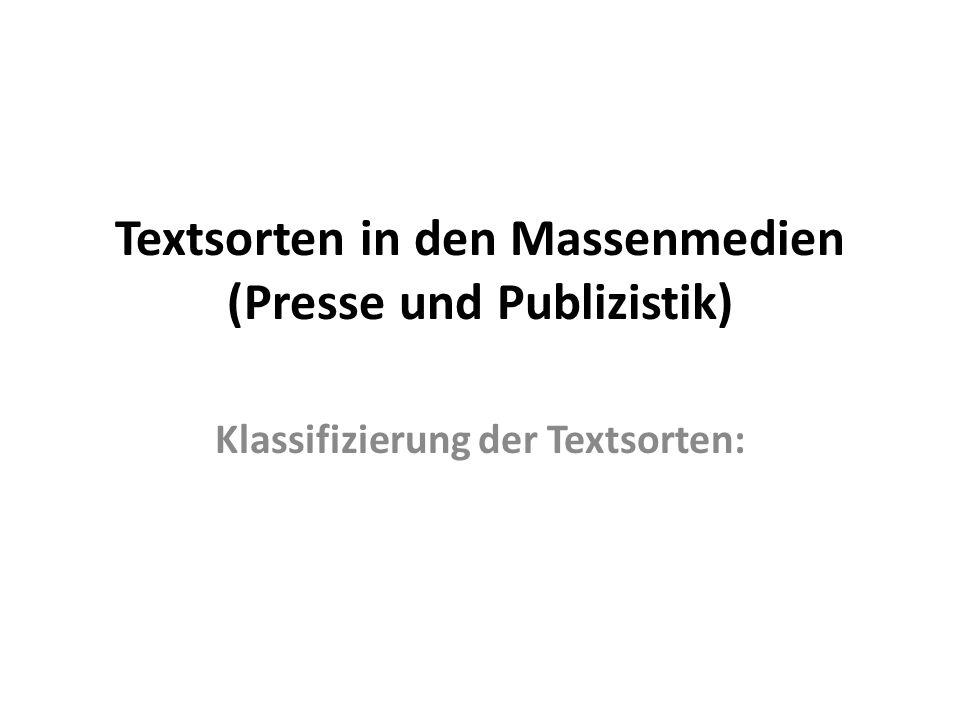 Textsorten in den Massenmedien (Presse und Publizistik)