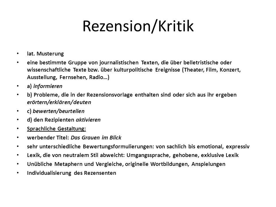Rezension/Kritik lat. Musterung