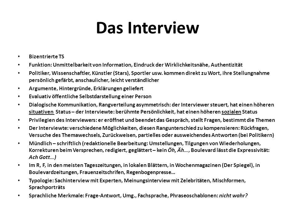 Das Interview Bizentrierte TS