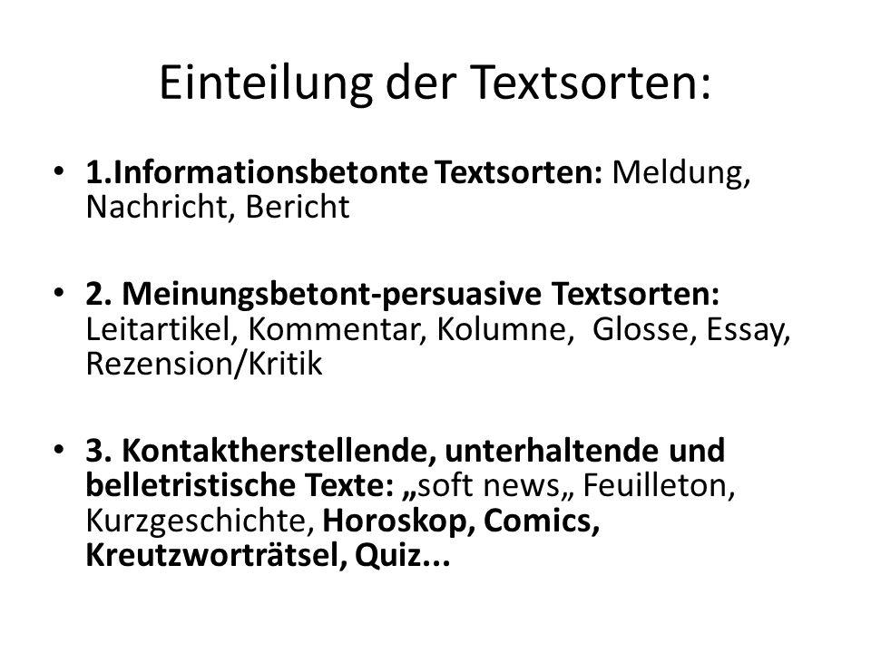 Einteilung der Textsorten: