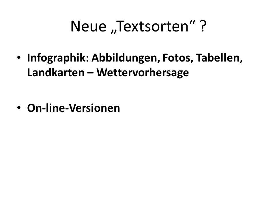 """Neue """"Textsorten . Infographik: Abbildungen, Fotos, Tabellen, Landkarten – Wettervorhersage."""