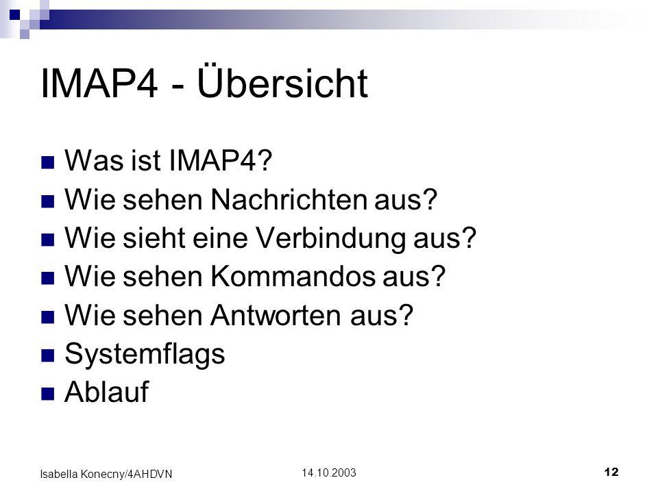 IMAP4 - Übersicht Was ist IMAP4 Wie sehen Nachrichten aus