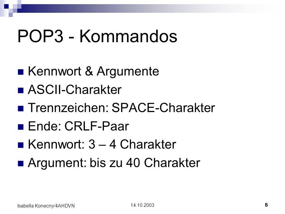 POP3 - Kommandos Kennwort & Argumente ASCII-Charakter