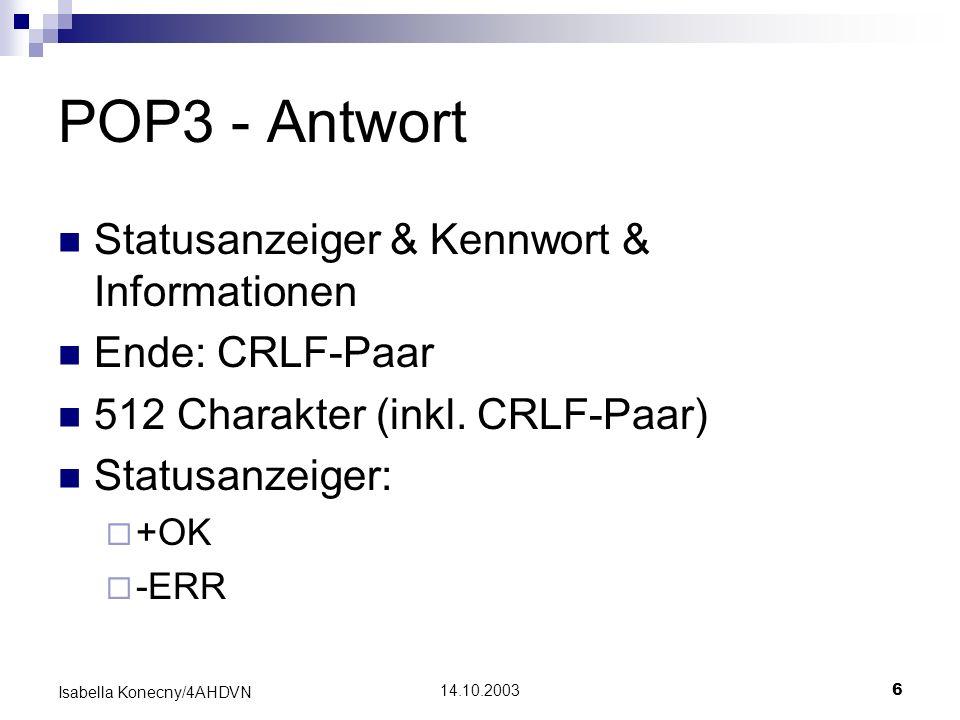 POP3 - Antwort Statusanzeiger & Kennwort & Informationen