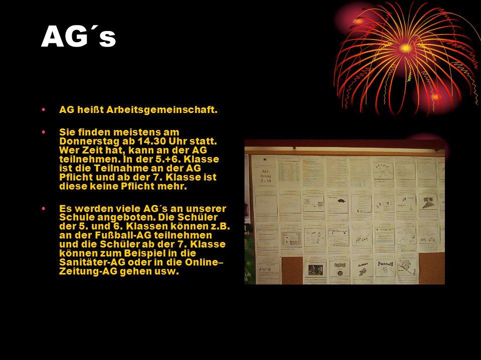 AG´s AG heißt Arbeitsgemeinschaft.