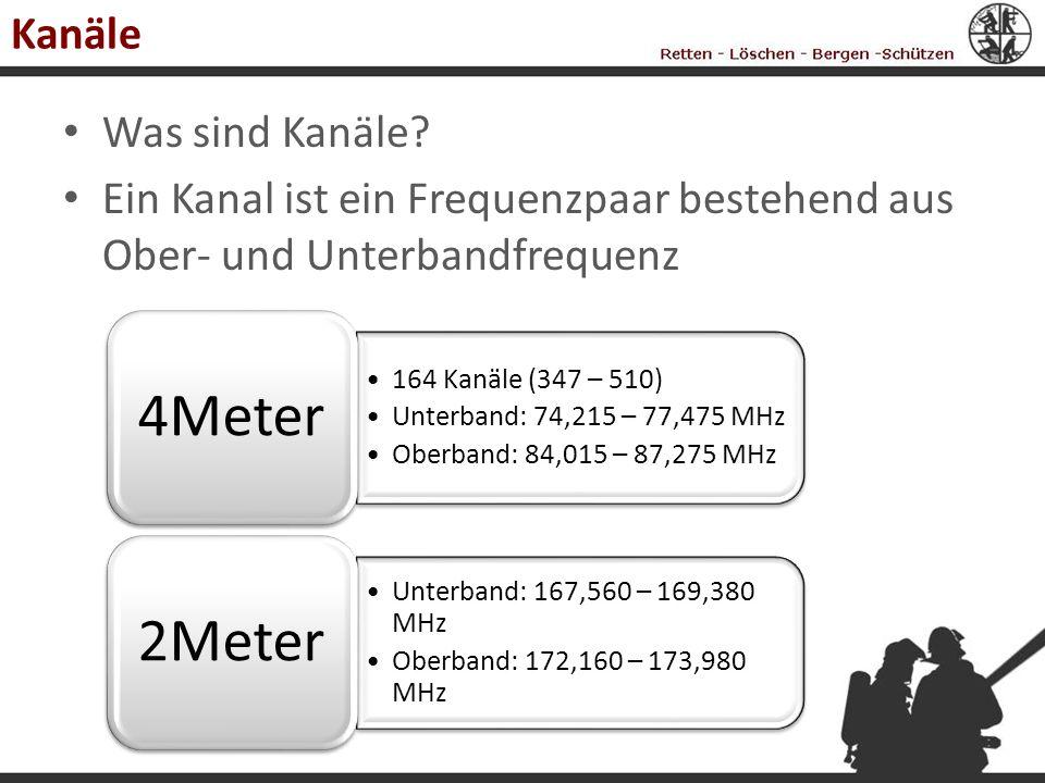 Kanäle Was sind Kanäle Ein Kanal ist ein Frequenzpaar bestehend aus Ober- und Unterbandfrequenz. 4Meter.