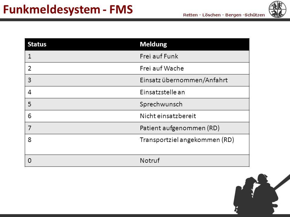 Funkmeldesystem - FMS Status Meldung 1 Frei auf Funk 2 Frei auf Wache