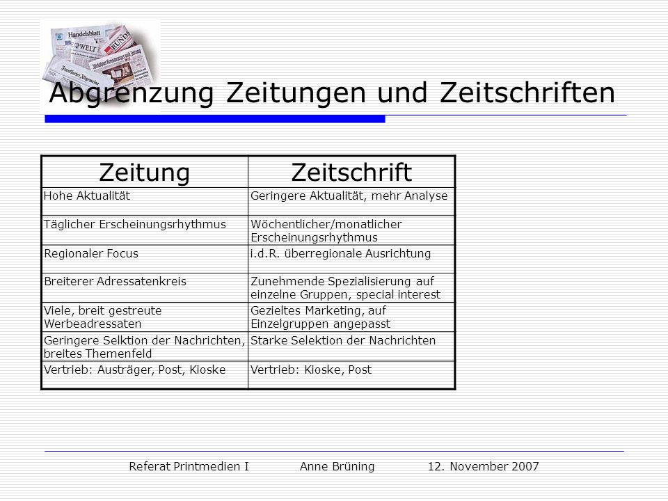 Abgrenzung Zeitungen und Zeitschriften
