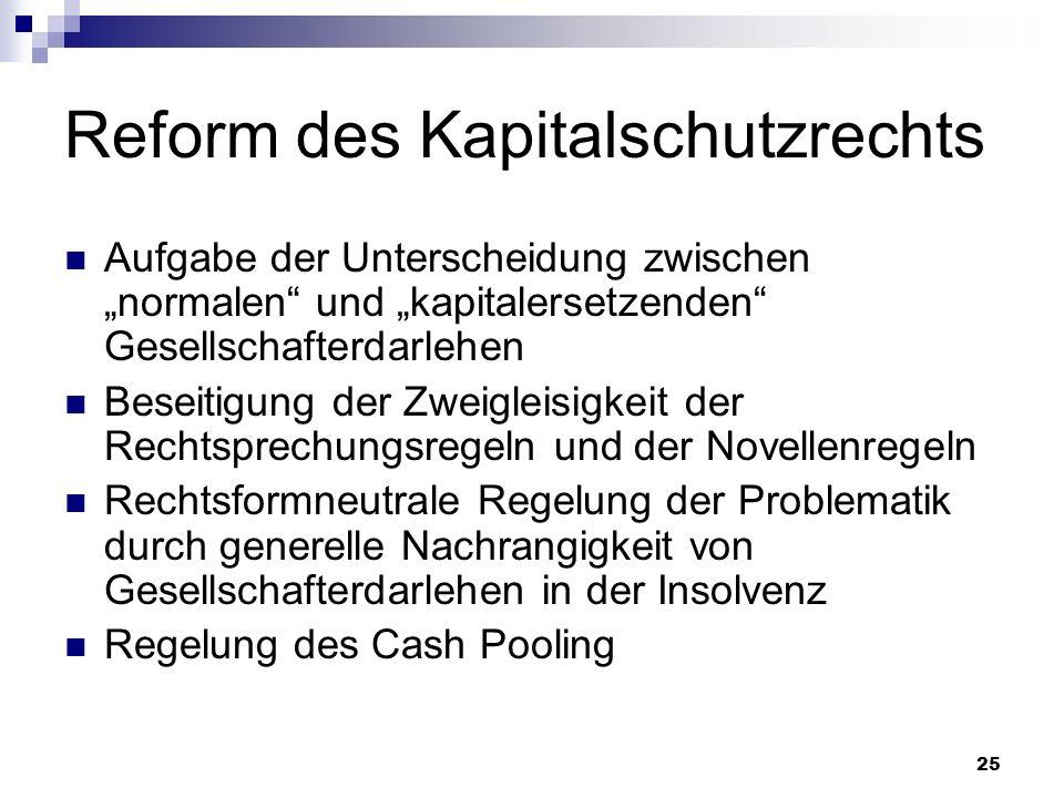 Reform des Kapitalschutzrechts