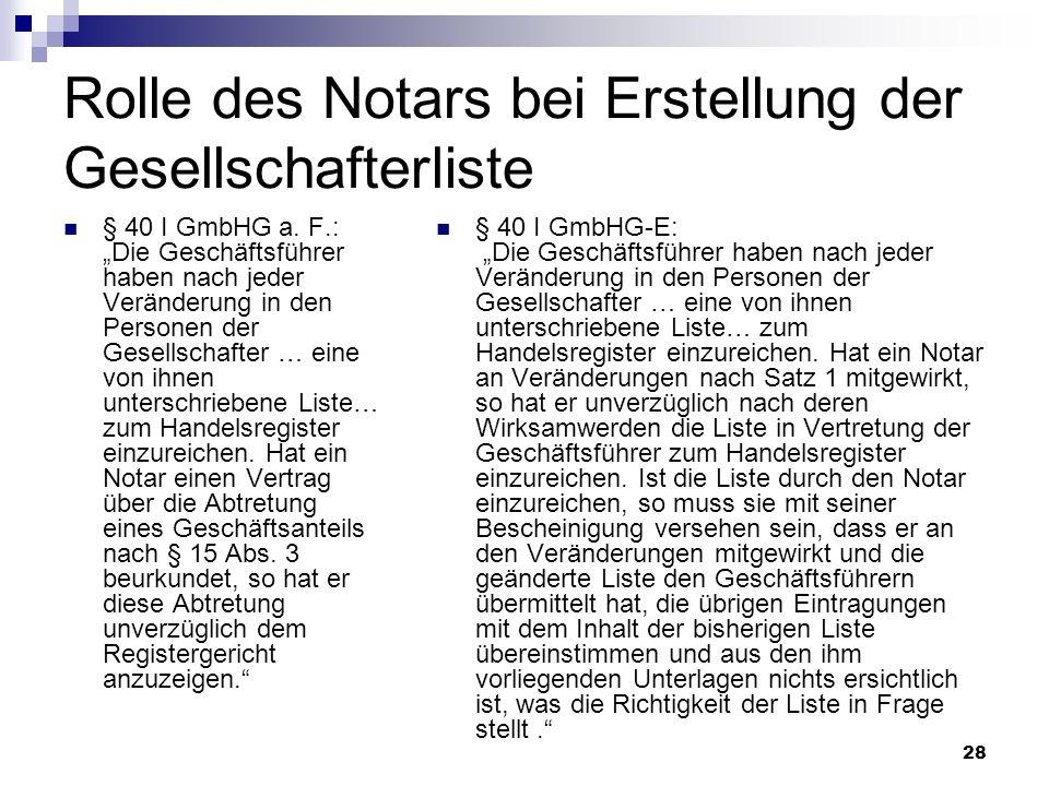Rolle des Notars bei Erstellung der Gesellschafterliste