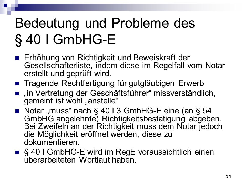Bedeutung und Probleme des § 40 I GmbHG-E