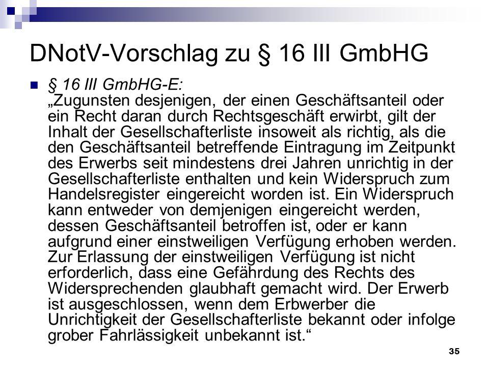 DNotV-Vorschlag zu § 16 III GmbHG
