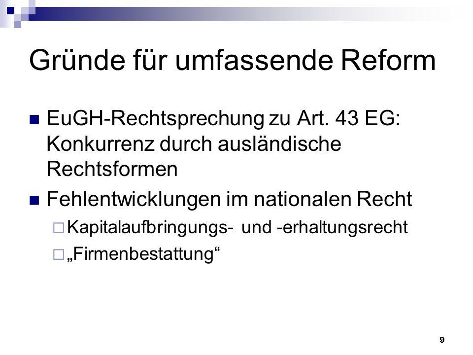 Gründe für umfassende Reform