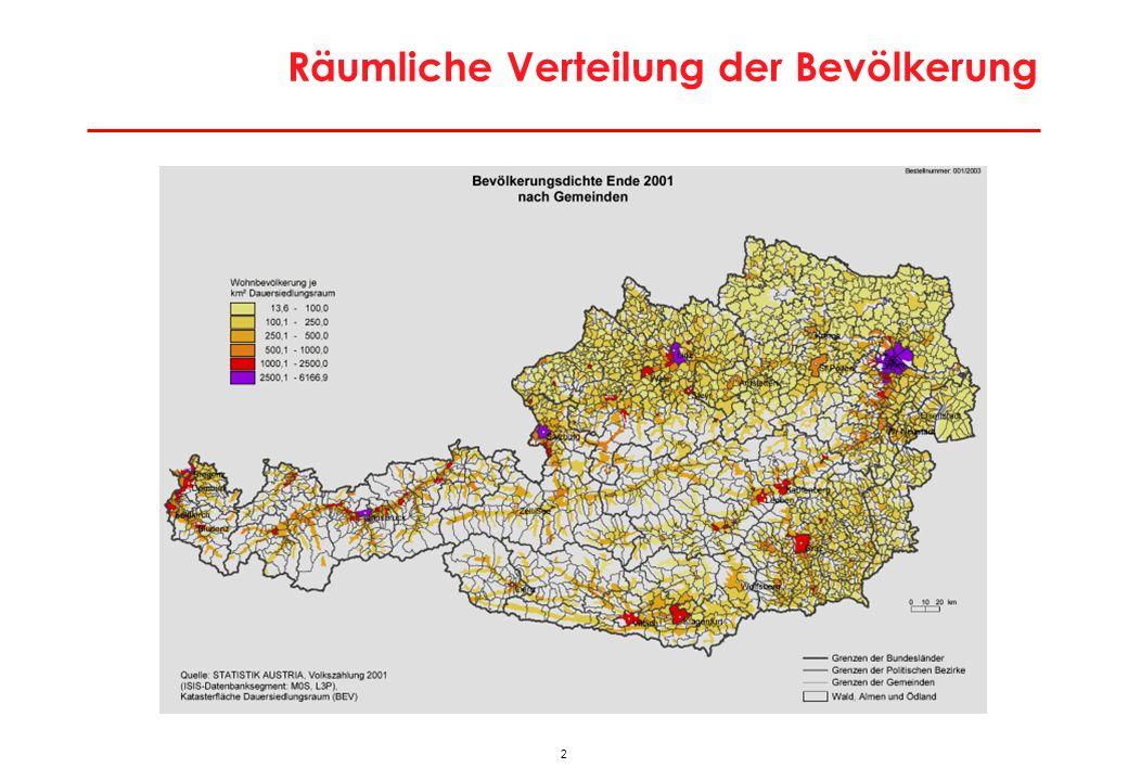 Räumliche Verteilung der Bevölkerung