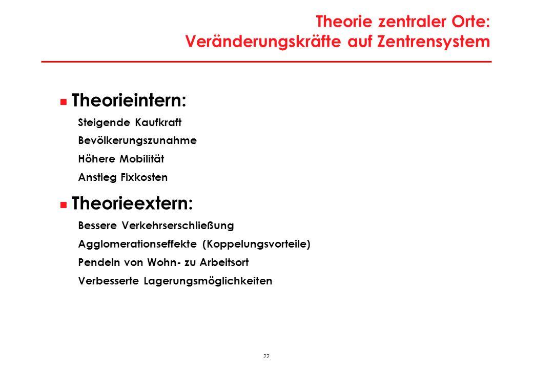 Theorie zentraler Orte: Veränderungskräfte auf Zentrensystem