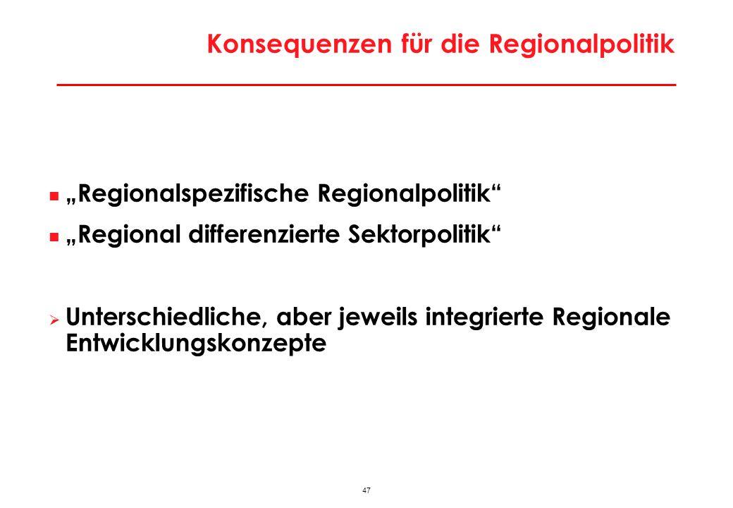 Konsequenzen für die Regionalpolitik