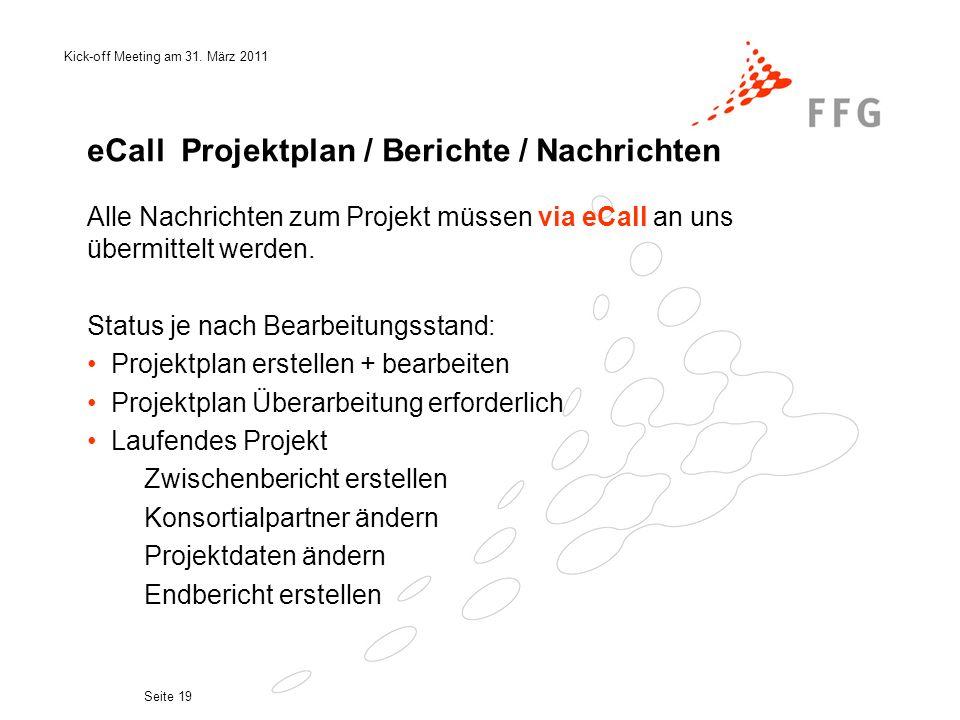 eCall Projektplan / Berichte / Nachrichten