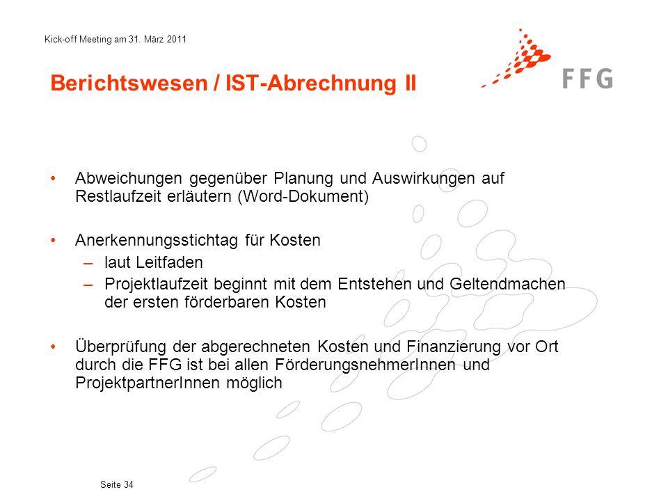 Berichtswesen / IST-Abrechnung II