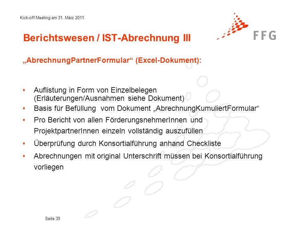 Berichtswesen / IST-Abrechnung III