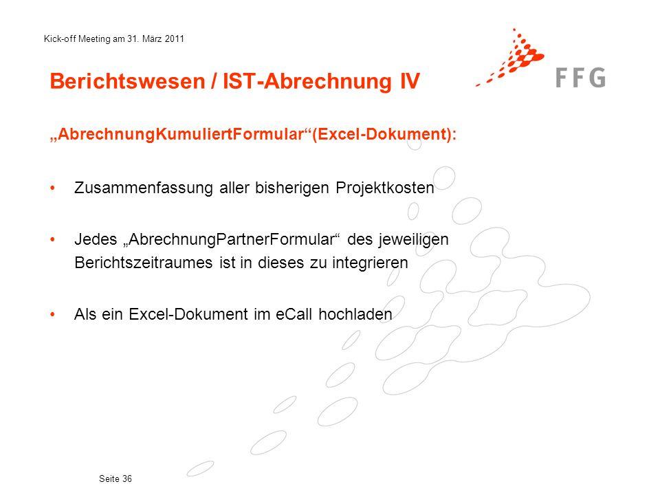 Berichtswesen / IST-Abrechnung IV