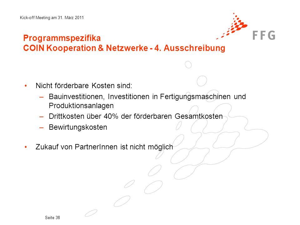 Programmspezifika COIN Kooperation & Netzwerke - 4. Ausschreibung