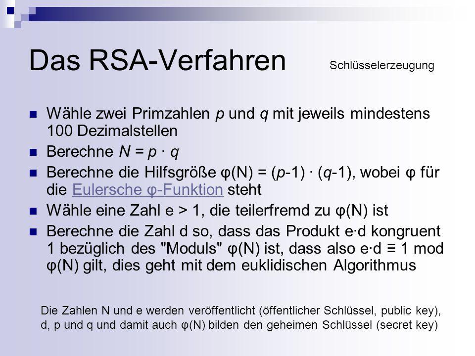 Das RSA-Verfahren Schlüsselerzeugung. Wähle zwei Primzahlen p und q mit jeweils mindestens 100 Dezimalstellen.