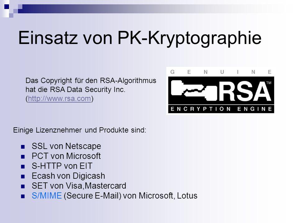 Einsatz von PK-Kryptographie