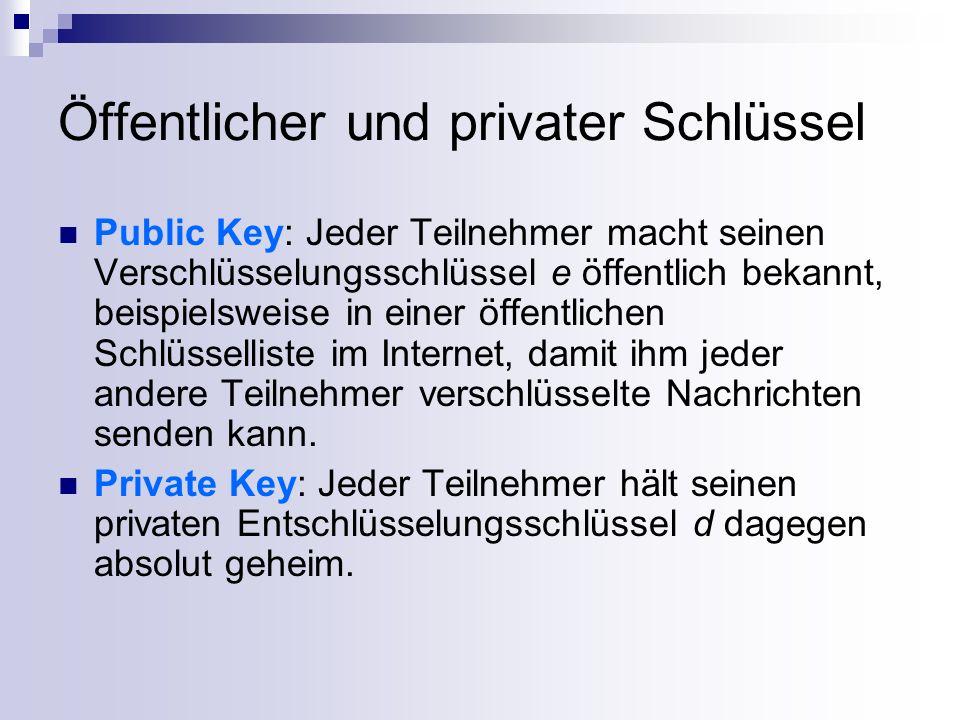 Öffentlicher und privater Schlüssel