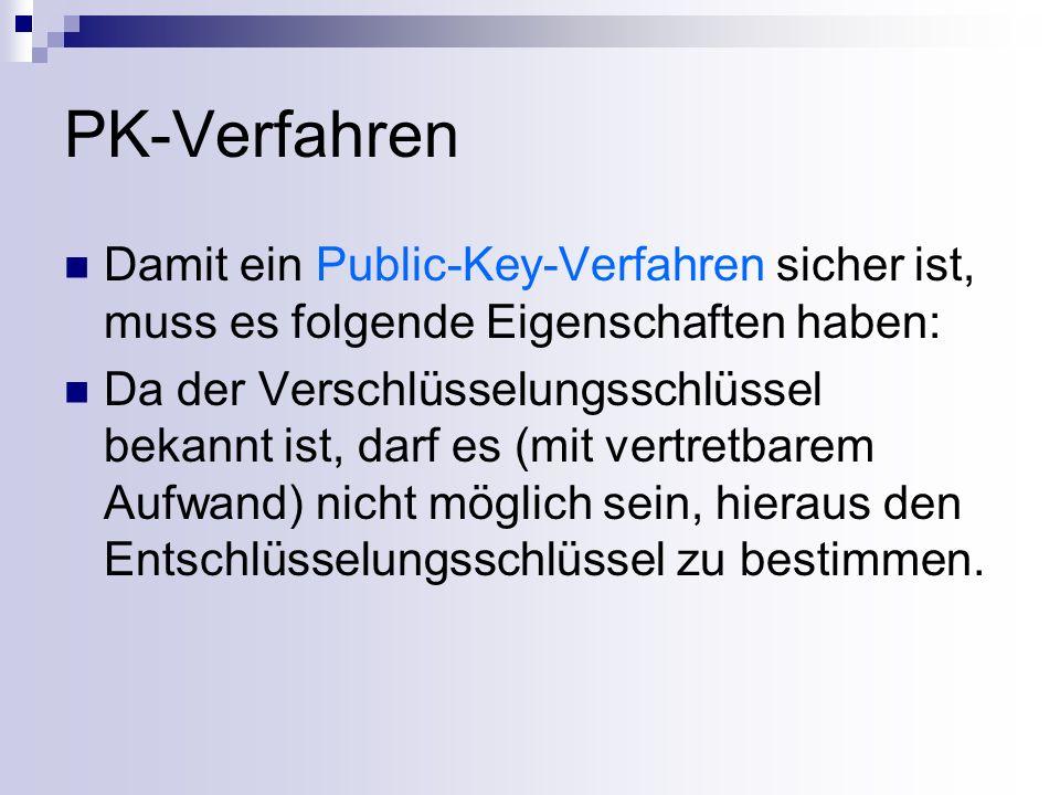 PK-Verfahren Damit ein Public-Key-Verfahren sicher ist, muss es folgende Eigenschaften haben: