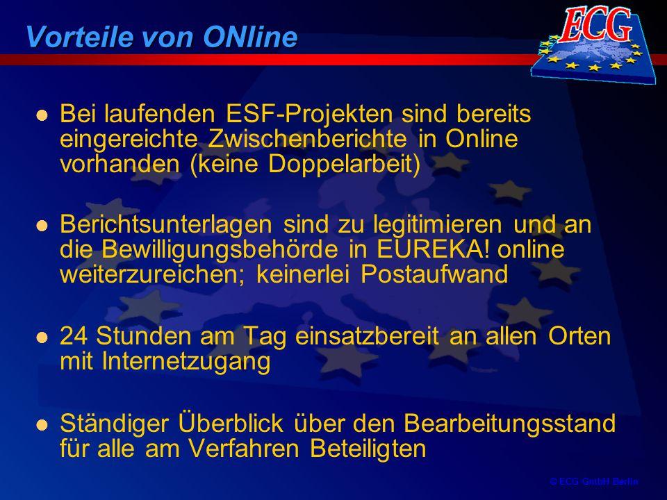 Vorteile von ONline Bei laufenden ESF-Projekten sind bereits eingereichte Zwischenberichte in Online vorhanden (keine Doppelarbeit)
