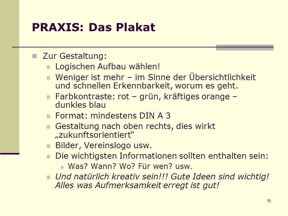 PRAXIS: Das Plakat Zur Gestaltung: Logischen Aufbau wählen!