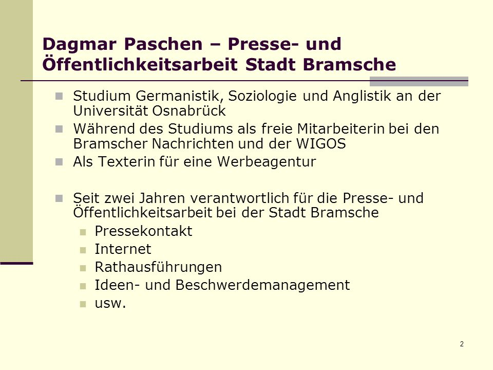Dagmar Paschen – Presse- und Öffentlichkeitsarbeit Stadt Bramsche