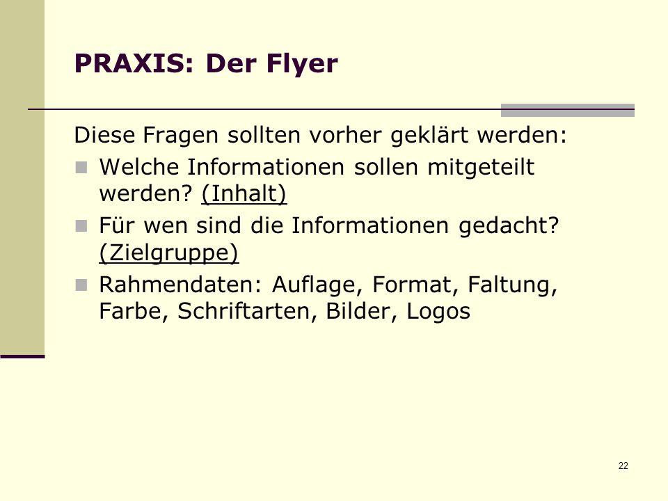 PRAXIS: Der Flyer Diese Fragen sollten vorher geklärt werden: