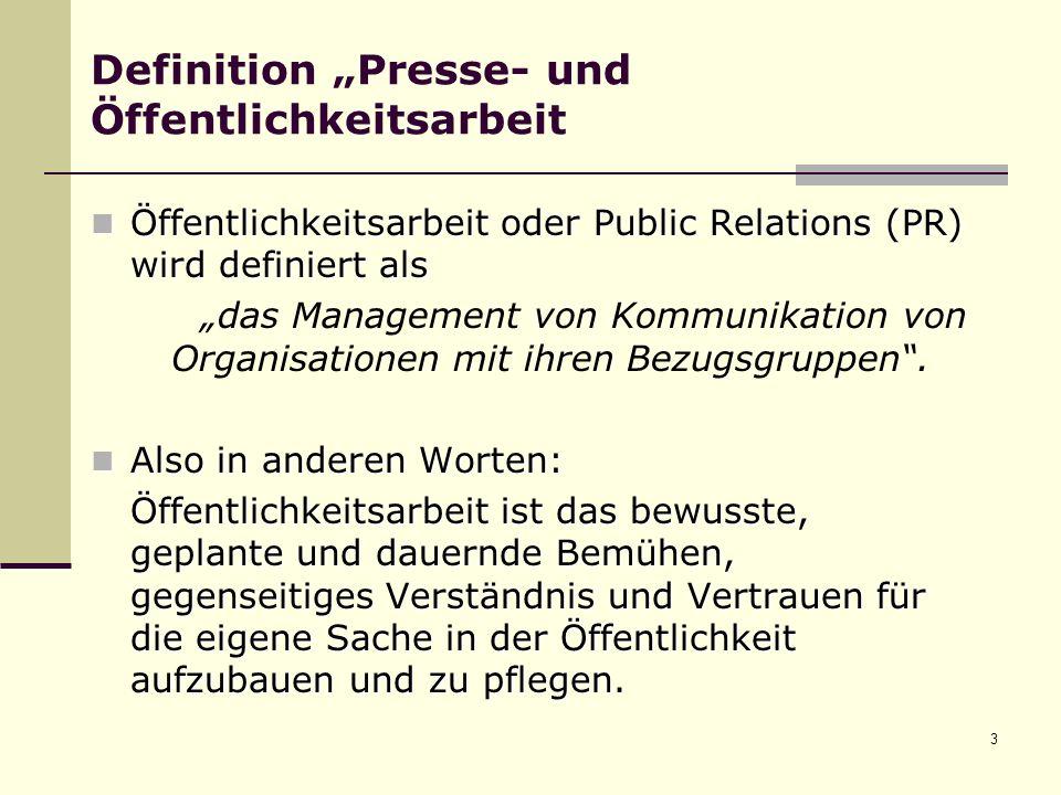 """Definition """"Presse- und Öffentlichkeitsarbeit"""