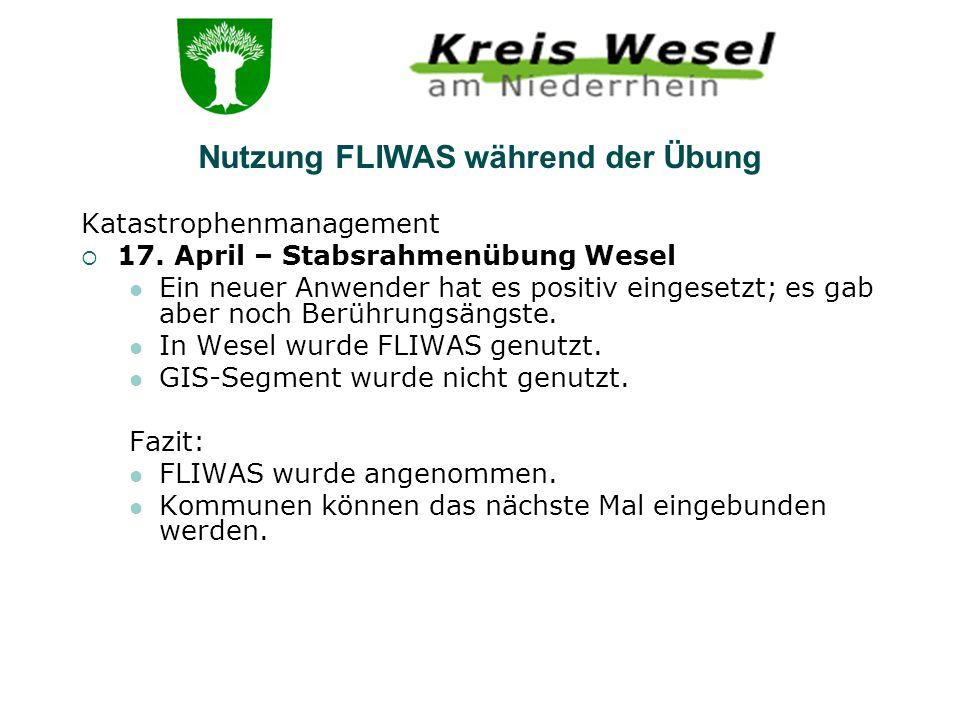 Nutzung FLIWAS während der Übung
