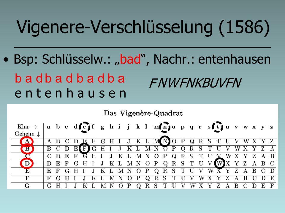 Vigenere-Verschlüsselung (1586)