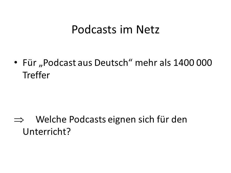 """Podcasts im Netz Für """"Podcast aus Deutsch mehr als 1400 000 Treffer"""