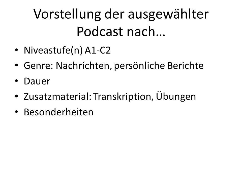 Vorstellung der ausgewählter Podcast nach…