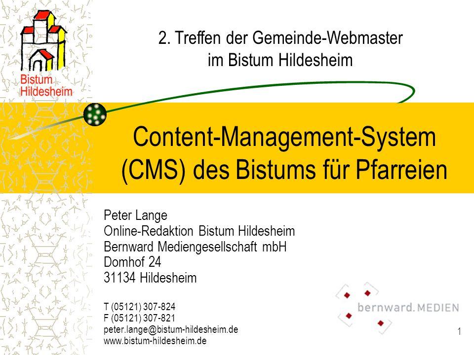 Content-Management-System (CMS) des Bistums für Pfarreien