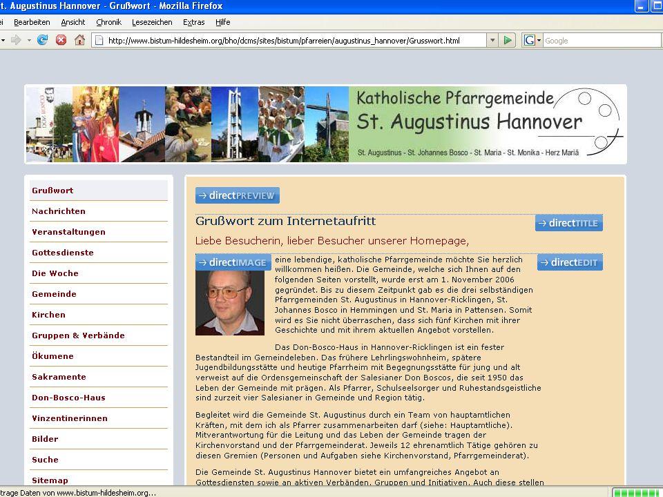 CMS für Pfarreien Seiteneditor: