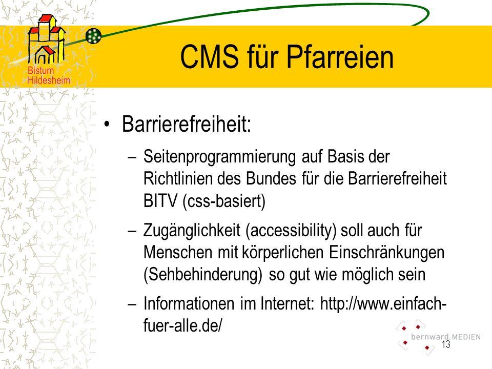 CMS für Pfarreien Barrierefreiheit: