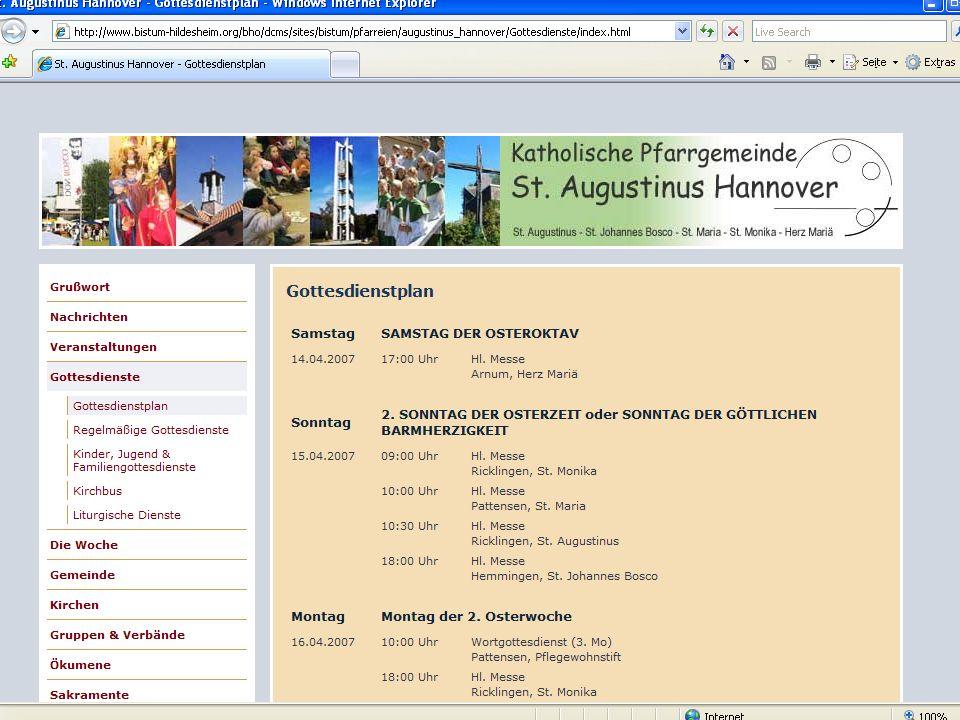 CMS für Pfarreien Beispiel: www.sankt-augustinus-hannover.de