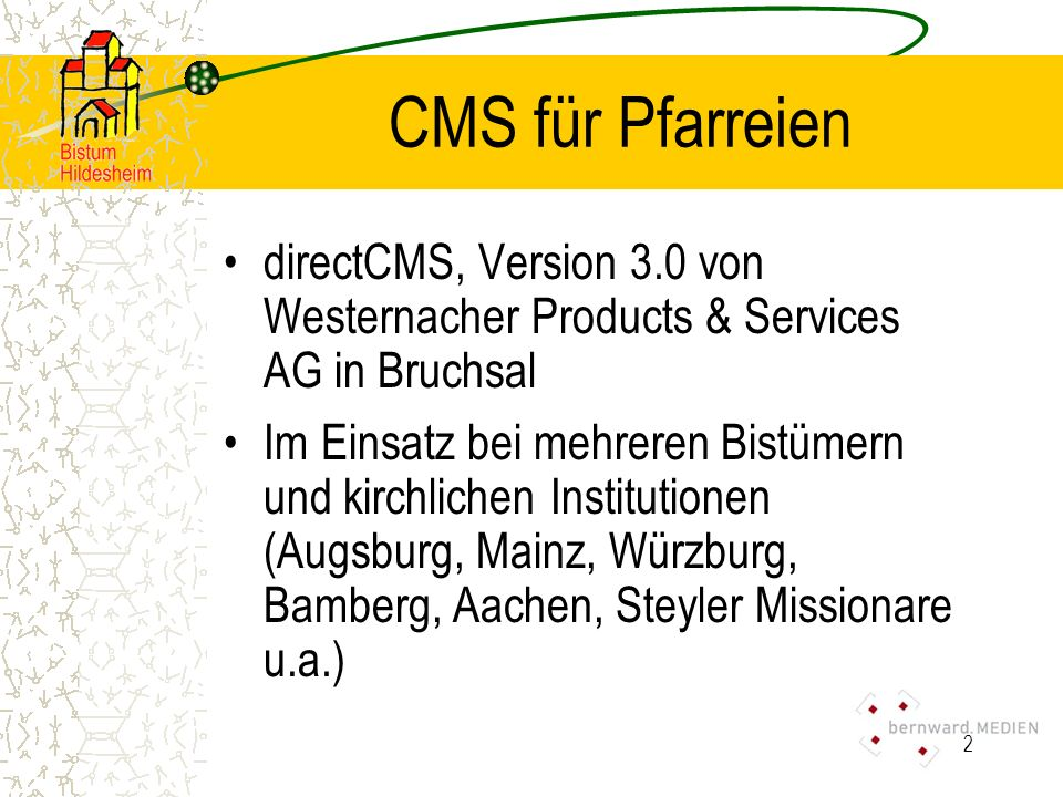CMS für Pfarreien directCMS, Version 3.0 von Westernacher Products & Services AG in Bruchsal.