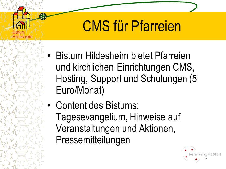 CMS für Pfarreien Bistum Hildesheim bietet Pfarreien und kirchlichen Einrichtungen CMS, Hosting, Support und Schulungen (5 Euro/Monat)
