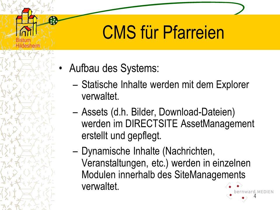 CMS für Pfarreien Aufbau des Systems: