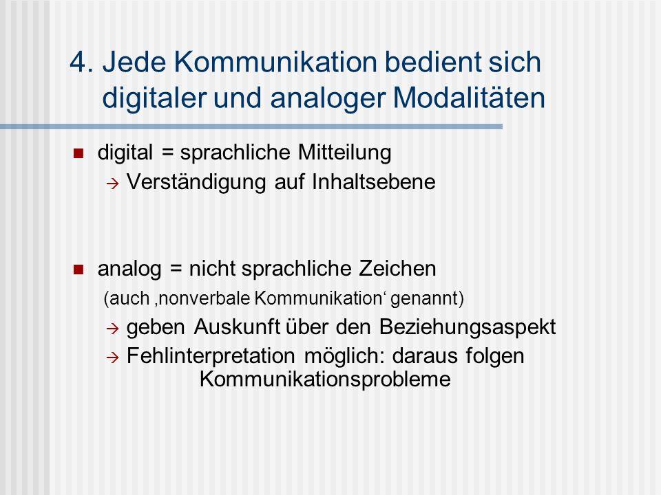 4. Jede Kommunikation bedient sich digitaler und analoger Modalitäten